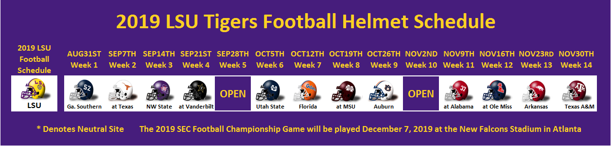 2019 LSU Football Helmet Schedule